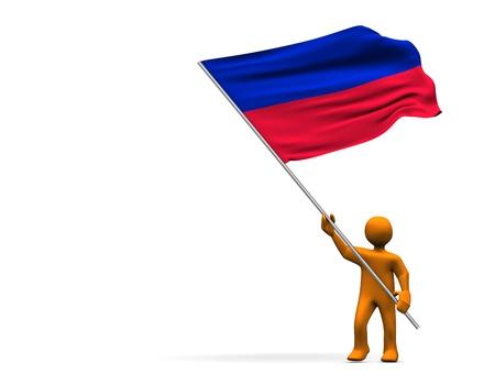 Orange cartoon with a big flag of Haiti, isolated on white. photo