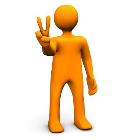 Orange cartoon with victory symbol isolated on white. Stok Fotoğraf