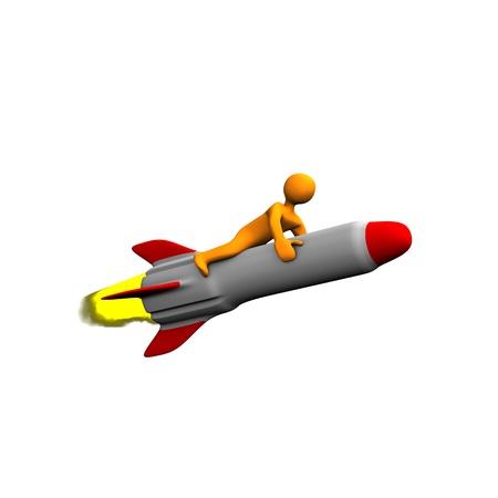 cartoon bomb: Orange cartoon on the missile, isolated on white.