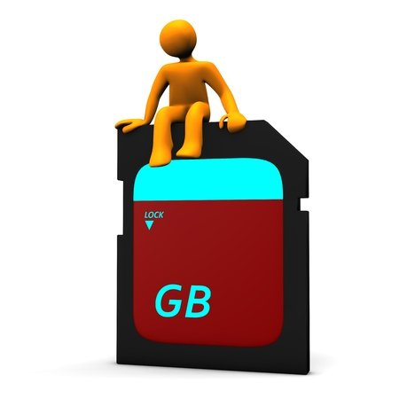 computer memory: Orange cartoon on the big memory card, isolated on white.
