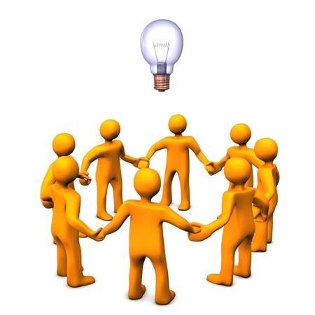 � teamwork: Cartoni animati arancione simboleggiava un gruppo di studio di ricerca scientifica. Archivio Fotografico