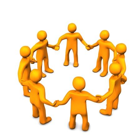 congregation: Orange cartoons in a circle, symbolize a teamwork.