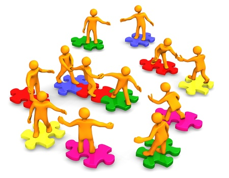 collaboration: Orange cartoons on the multicolored puzzles, symbolize a teamwork. Stock Photo