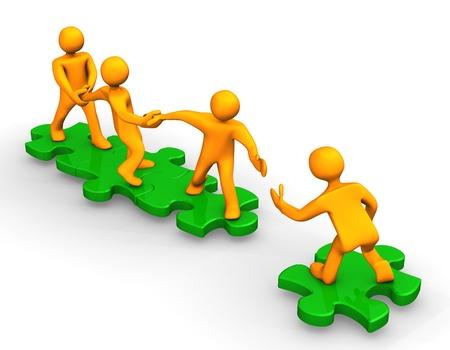 Orange dibujos animados en los puzzles verdes, simbolizan un trabajo en equipo. Foto de archivo - 9928246