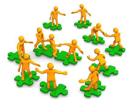 congregation: Orange cartoons on the green puzzles, symbolize a teamwork.