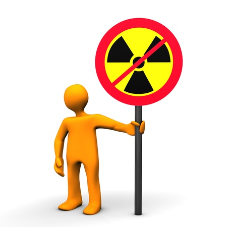 tegenstander: Opponent Of Nuclear Power with a sign, isolated on white.