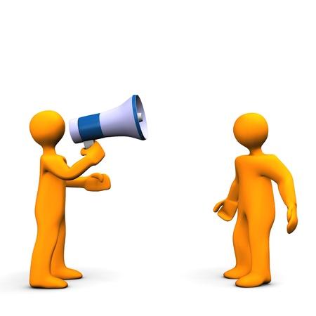 Orange cartoon talking into a megaphone - bullhorn . Stock Photo - 9928272
