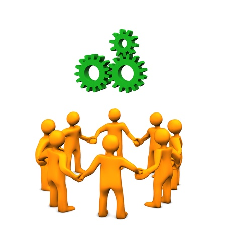 fairness: Illustration of bright yellow figures holding hands.