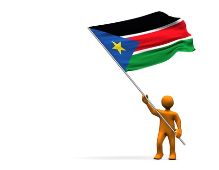 sudan: Orange cartoon with a big flag of South Sudan, isolated on white.