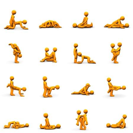 educacion sexual: Caricaturas de Orange con posiciones de kama sutra, aisladas en blanco.
