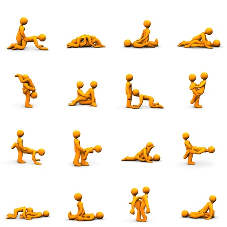 nude man: Orange cartoons with kama sutra positions, isolated on white.