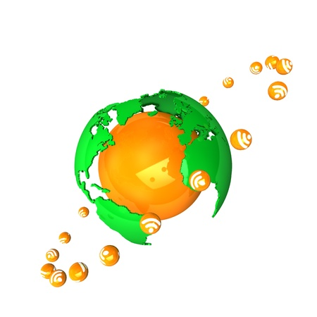 really simple syndication: Orange globe with rss-satellites, isolated on white. Stock Photo