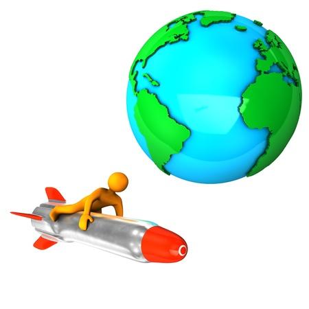 Orange cartoon on the missile, isolated on white. photo