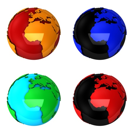 red earth: Abstract multi colored globes, isolated on white.