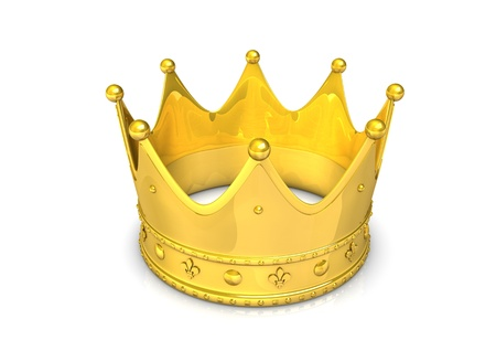 tidings: 3d illustration of golden crown, isolated on white. Stock Photo