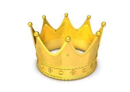 corona rey: Ilustración 3D de corona dorada, aislado en blanco.
