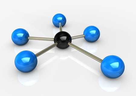 abstractly: Abstractly rendering of the networks, blue and black balls on the white background. Stock Photo
