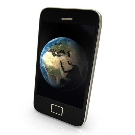 Black smartphone with earth, isolated on white. photo