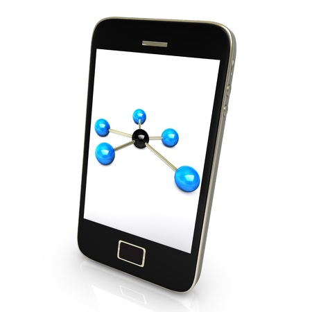 Black smartphone with networks isolate on white background Stock Photo - 10297494