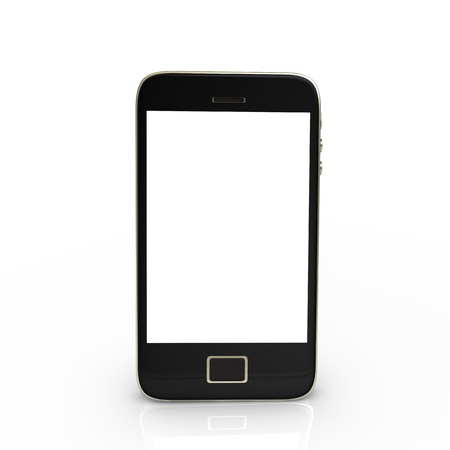 touch screen phone: Black smartphone with white screen, isolated on white. Stock Photo
