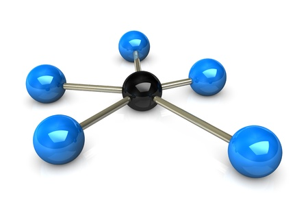 Abstractly rendering of the networks, blue and black balls on the white background. photo