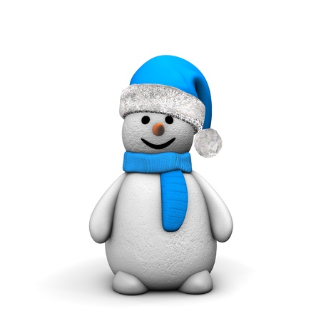 Snowman with santa cap isolated on white. photo