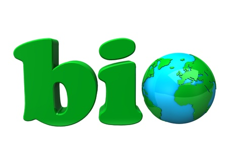Green text BIO with earth, on white background. Stock Photo - 10440414