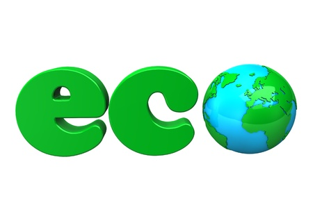 Green text Eco with earth, isolated on white.