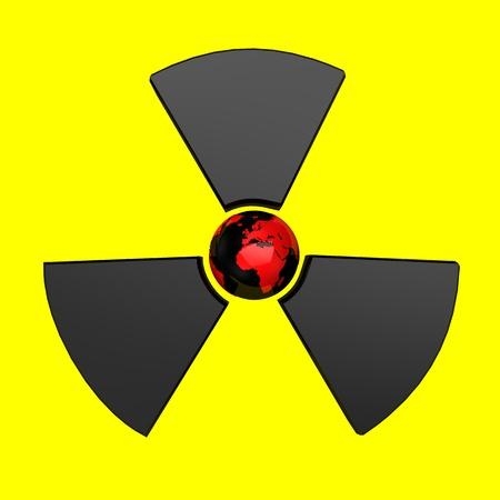 Radioactive symbol with earth, isolated on yellow background. photo