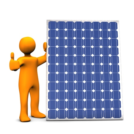 photovoltaic panel: Orange cartoon with photovoltaic panel, on white background.