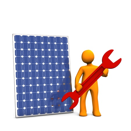 energy conservation: Orage cartoon with red spanner and photovoltaic panel on white background.
