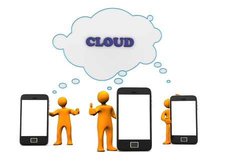 Orange cartoons with smartphones using the cloud computing. photo