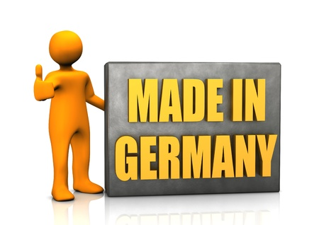 made in germany: Orange cartoon with Made in Germany sign, on white background.