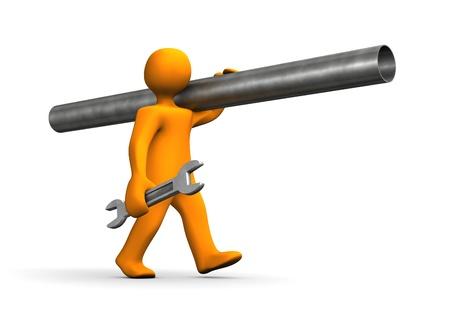 outils plomberie: Cartoon orange, plombier, aller avec des tuyaux de fer. Banque d'images