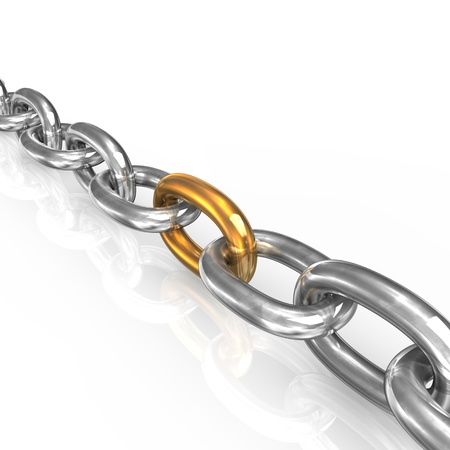 iron defense: Iron chain with one golden part on white background. Stock Photo