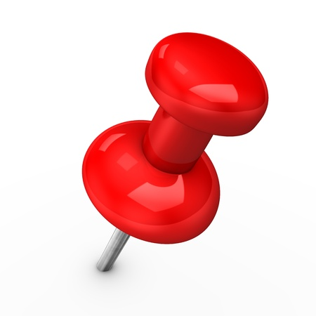 red pushpin: 3d illustration of red thumbtack on white pinang. Stock Photo