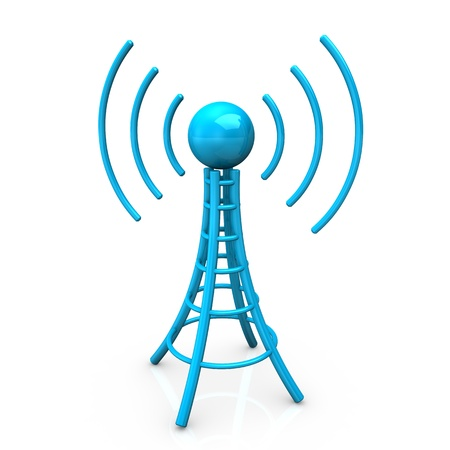wireless tower: Blue antenna tower with radio waves, on white background. Stock Photo