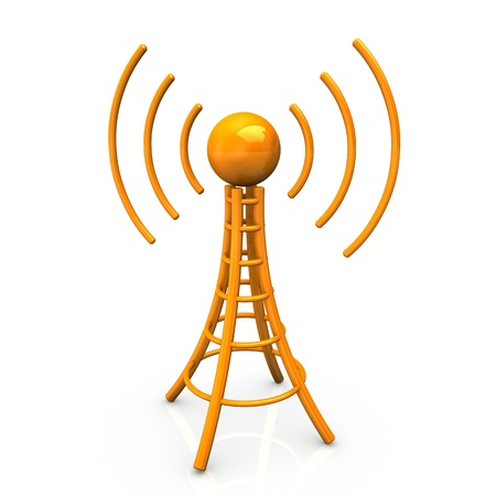 Orange antenna tower with radiowaves on white background. Stock Photo - 11506994
