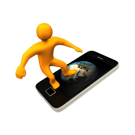 Orange cartoon surfing in internet with the smartphone. Stock Photo - 11506993