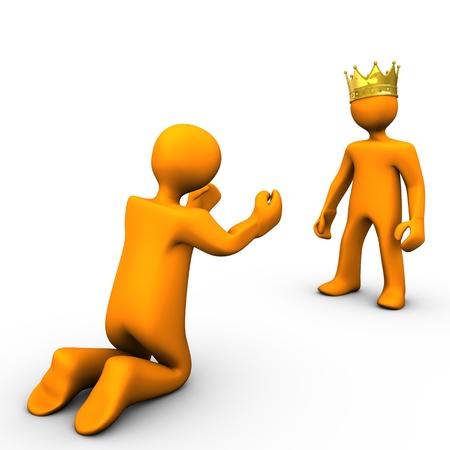 sirvientes: Mendigo y rey ??con corona de oro, sobre fondo blanco.