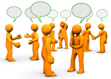 discussion forum: Orange cartoons with green speak bubbles, on white background.