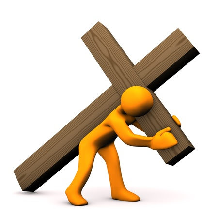 crucifixion: Orange cartoon with wooden croos on white background.