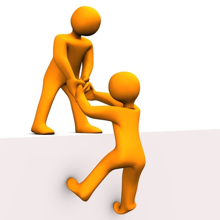 orange cartoon: 3d illustration - orange toon help his friend.