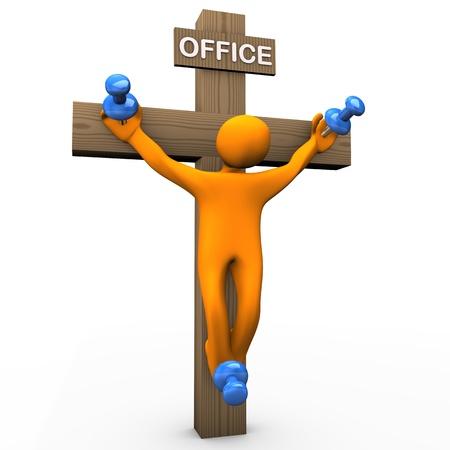 crucified: Orange cartoon crucified with blue tacks.