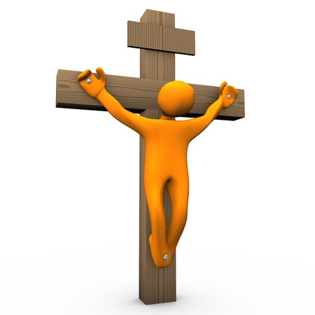 Orange cartoon crucified on the white background. Stock Photo - 11963061