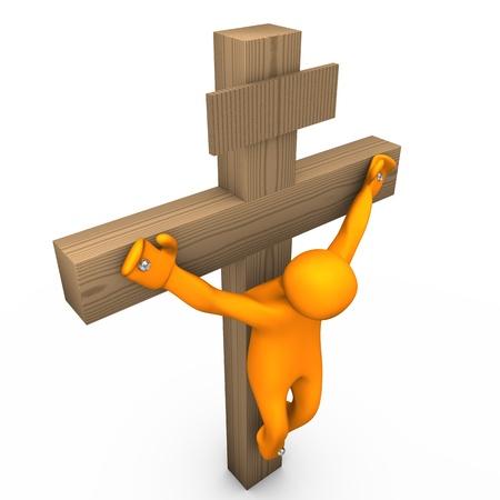 Orange cartoon crucified on the white background. Stock Photo - 11963064