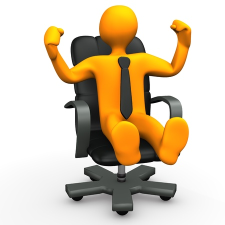 hit man: Orange cartoon character is glad about promotion. Stock Photo