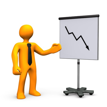 profit and loss: Orange cartoon with black tie and chart on white background.