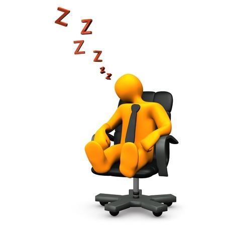 Oranje stripfiguur in slaap is gevallen op de draaifauteuil. Stockfoto