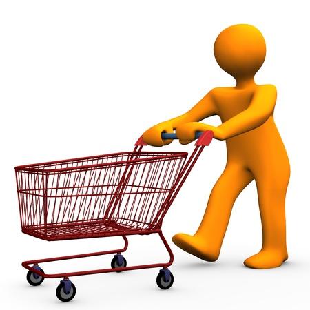 mujer en el supermercado: Personaje de dibujos animados de Orange va de compras. Foto de archivo